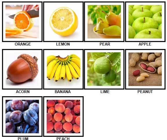 100 Pics Fruit and Nut Level 1-10 Answers
