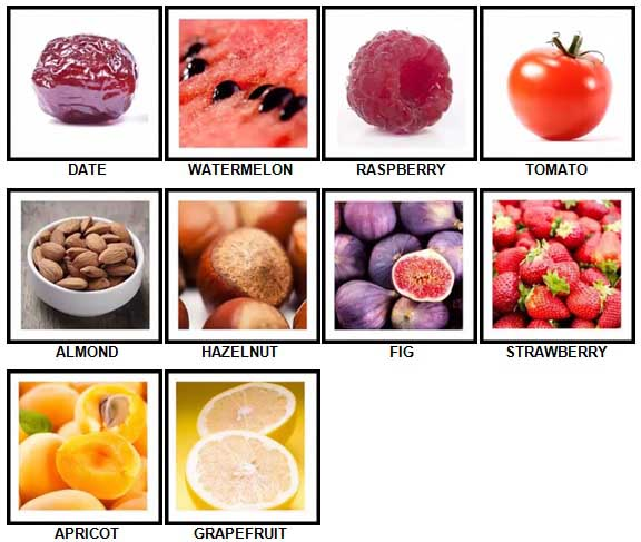 100 Pics Fruit and Nut Level 11-20 Answers