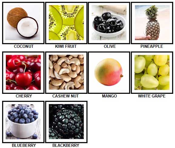 100 Pics Fruit and Nut Level 21-30 Answer