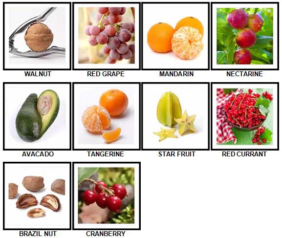 100 Pics Fruit and Nut Level 31-40 Answers