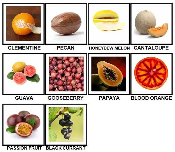 100 Pics Fruit and Nut Level 41-50 Answers