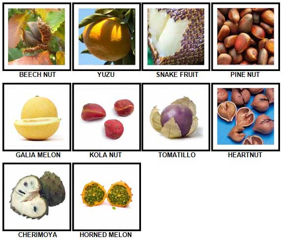 100 Pics Fruit and Nut Level 71-80 Answers