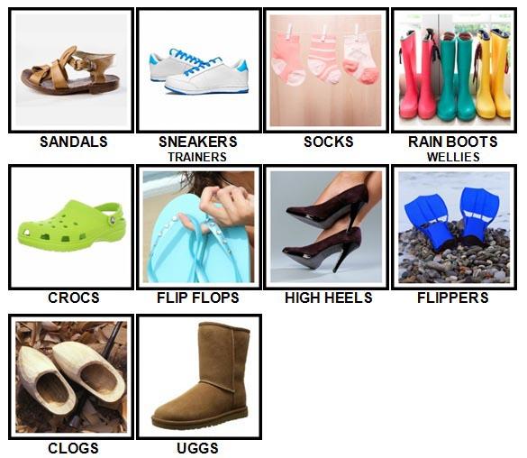 100 Pics Footwear Answers Level 1-10