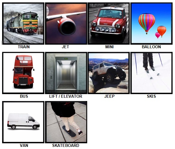 100 Pics Transport Answers Level 1-10