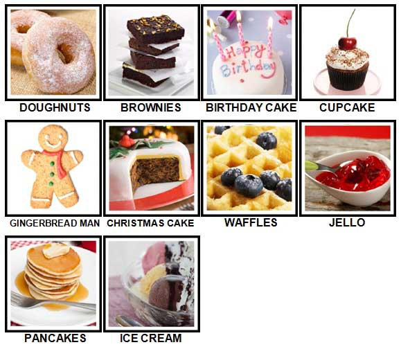 100 Pics Desserts Level 1-10 Answers