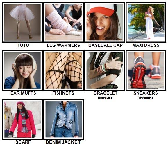 100 Pics Fashion Answers Level 1-10