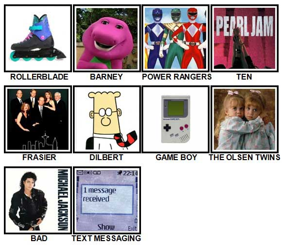 100 Pics I Love 1990s Answers Level 1-10