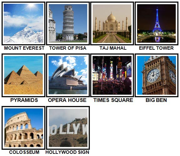 100 Pics Landmarks Answers Level 1-10