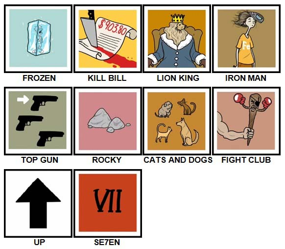 100 Pics Movie Puzzles Answers Level 1-10