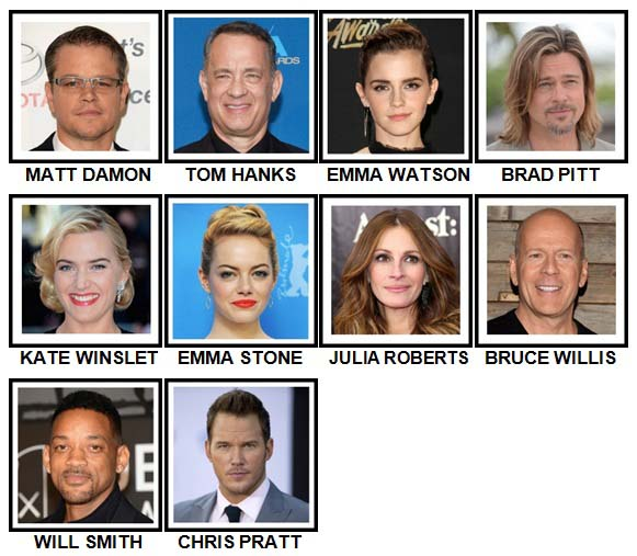 100 Pics Movie Stars Level 1-10 Answers