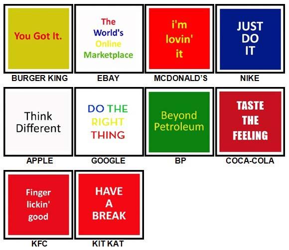 100 Pics Slogans Answers All Levels