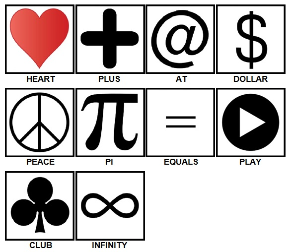 100 Pics Symbols Answers Level 1-10