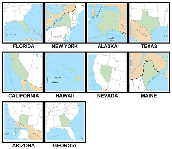 100 Pics US States Level 1-10 Answers