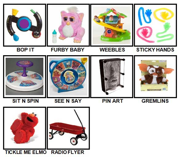 100 Pics Classic Toys Level 1-10 Answers