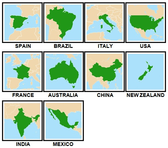 100 Pics Countries Level 1-10 Answers