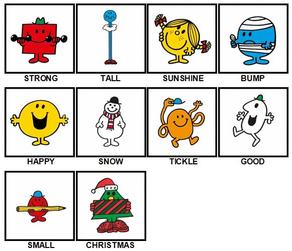 100 Pics Mr Men Answers Level 1-10
