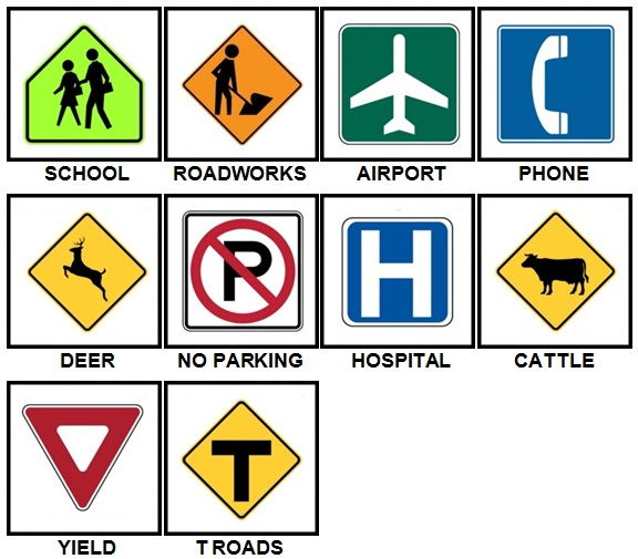 100 Pics Road Signs Answers Level 1-10