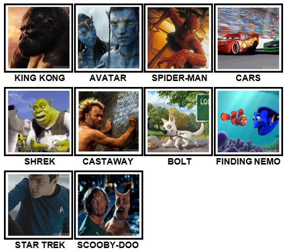100 Pics 2000s Movies Answers Level 1-10