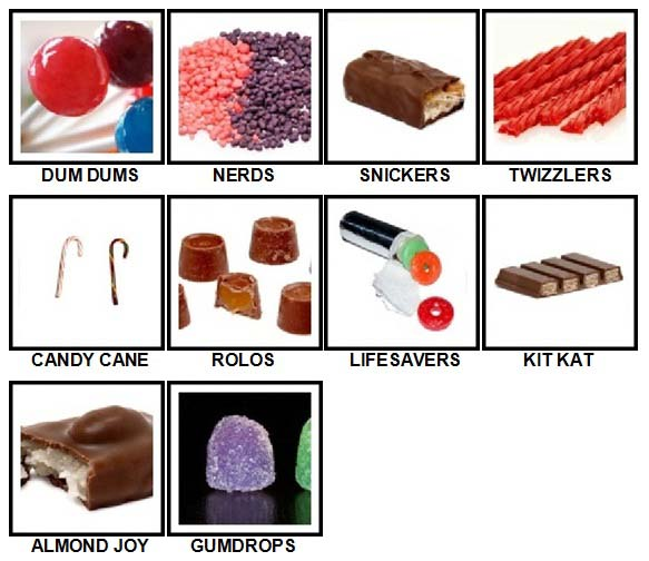 100 Pics Candy Answers All Levels