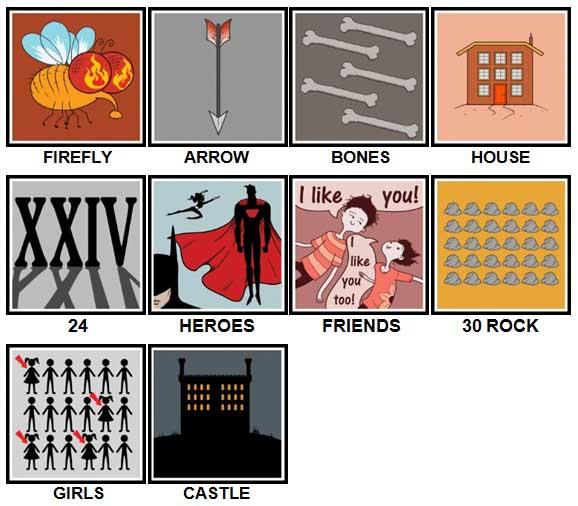 100 Pics TV Puzzles Answers Level 1-10