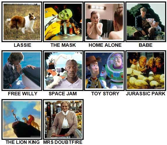 100 Pics 90s Movies Level 1-10 Answers
