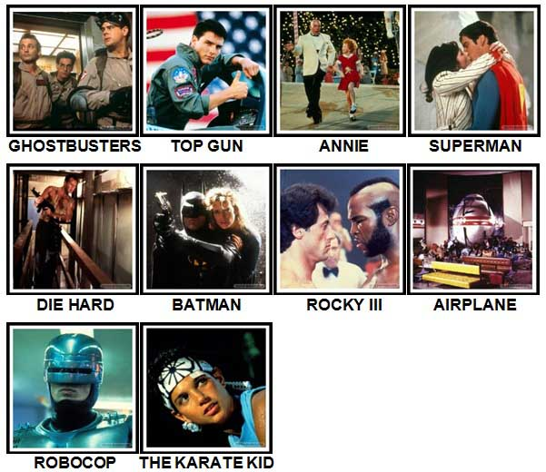 100 Pics 80s Movies Level 1-10 Answers