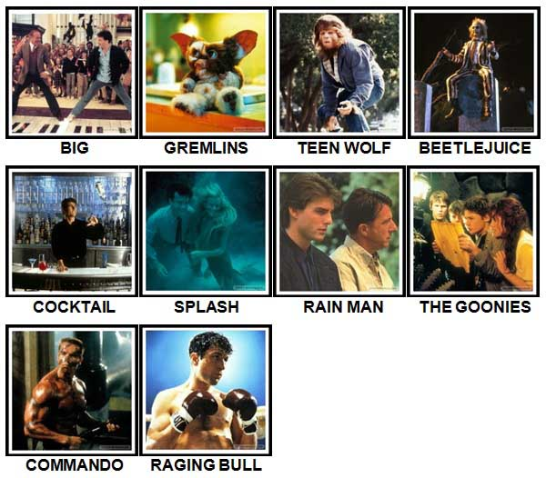 100 Pics 80s Movies Level 11-20 Answers