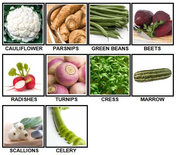 100 Pics Vegetables Level 11-20 Answers