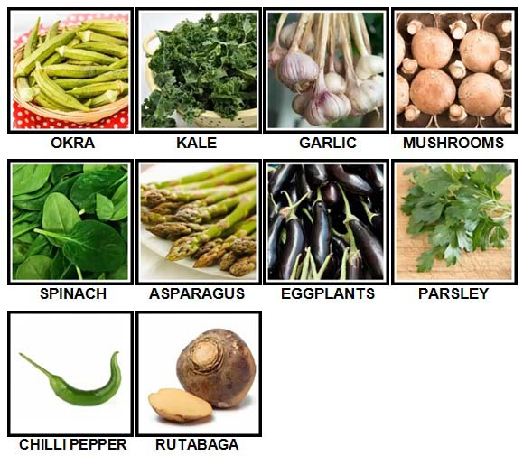 100 Pics Vegetables Level 21-30 Answers