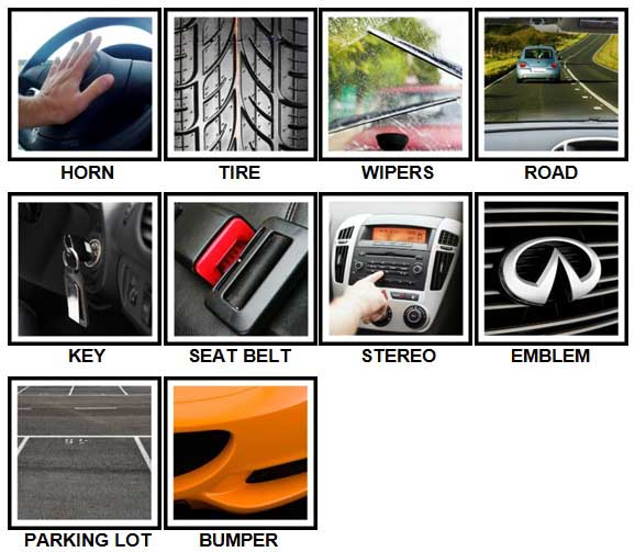 100 Pics Around The Car Answers Level 1-10