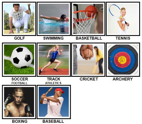 100 Pics Sports Answers Level 1-10