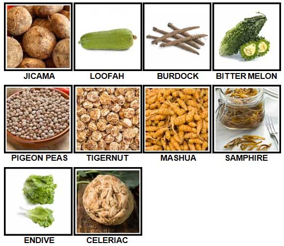 100 Pics Vegetables Level 81-90 Answers