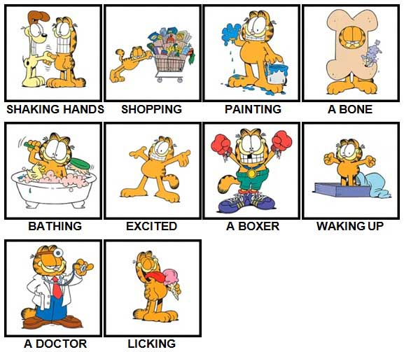 100 Pics Garfield is Level 1-10 Answers