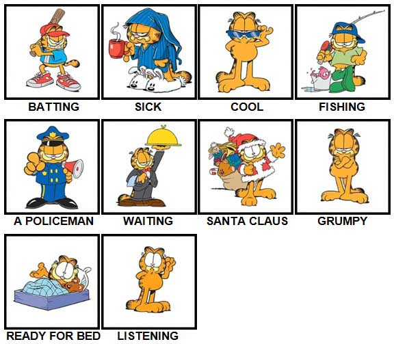 100 Pics Garfield is Level 21-30 Answers