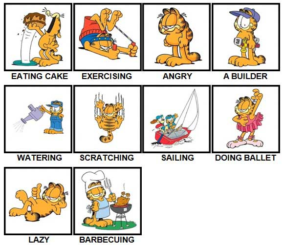 100 Pics Garfield is Level 31-40 Answers