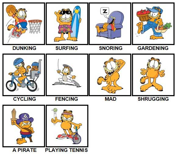 100 Pics Garfield is Level 41-50 Answers