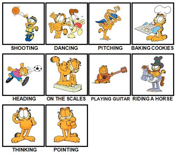 100 Pics Garfield is Level 51-60 Answers