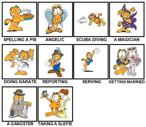 100 Pics Garfield is Level 61-70 Answers