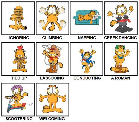 100 Pics Garfield is Level 71-80 Answers