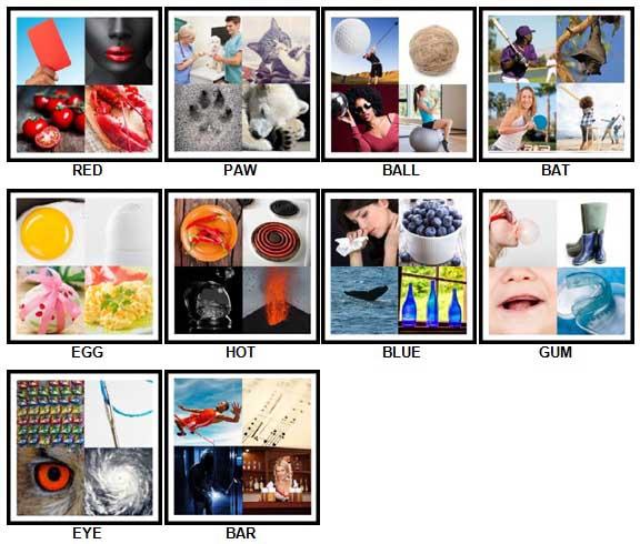 100 Pics Four Pics Answers 1-10