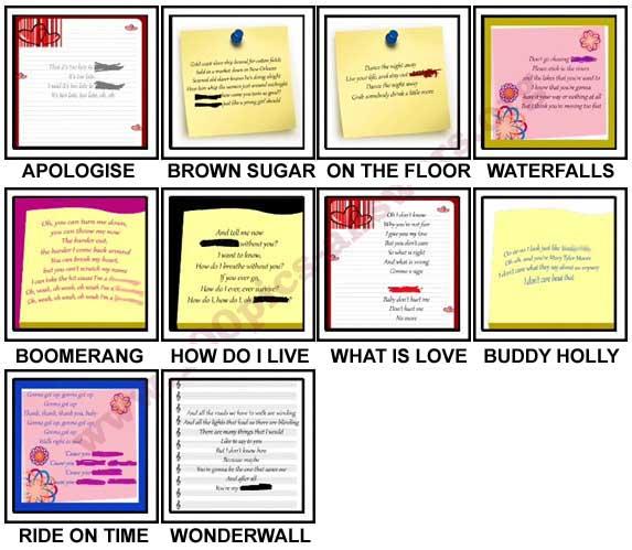 100 Pics Song Lyrics Level 41-50 Answers