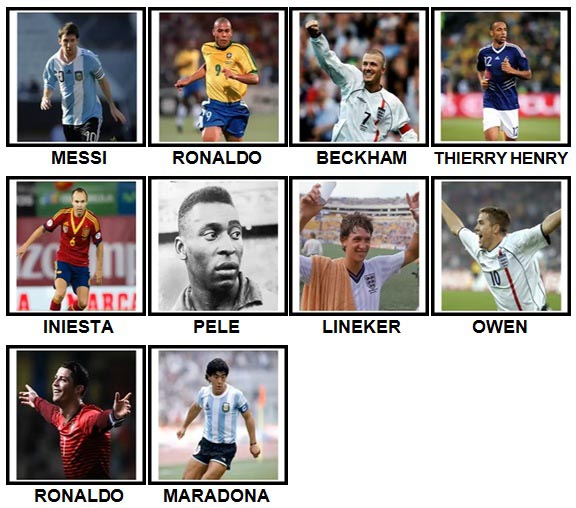 100 Pics Football Legends Level 1-10 Answers