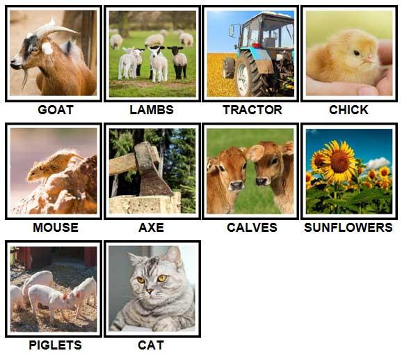 100 Pics On The Farm Level 1-10 Answers
