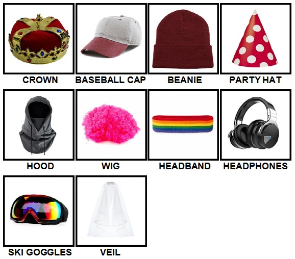 100 Pics Headwear Answers Level 1-10