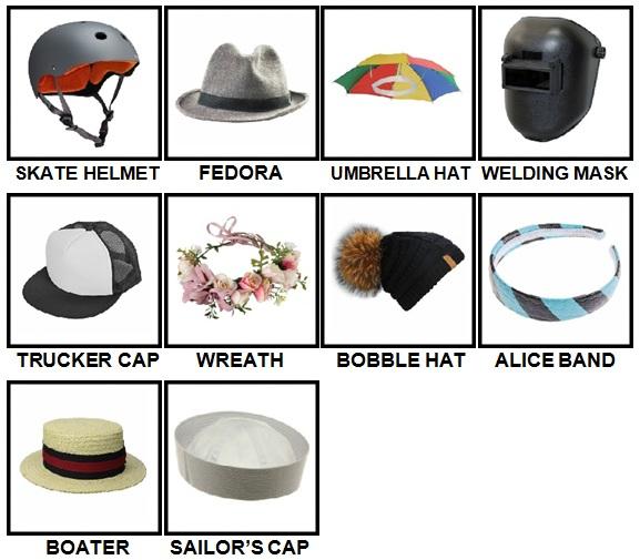 100 Pics Headwear Level 41-50 Answers