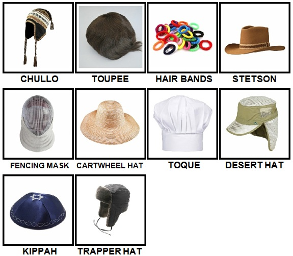 100 Pics Headwear Level 61-70 Answers