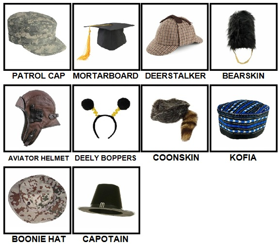 100 Pics Headwear Level 71-80 Answers
