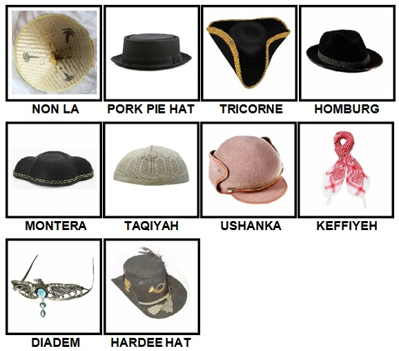 100 Pics Headwear Level 91-100 Answers