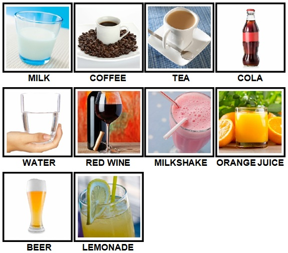 100 Pics Drinks Level 11-20 Answers