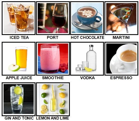 100 Pics Drinks Level 21-30 Answers